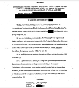One of the released docs, the August 10, 2008, AG and DNI Protect America Certification.
