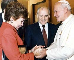 Mikhail and Raisa Gorbachev with Pope John Paul II, December 1, 1989.