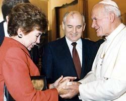 Mikhail and Raisa Gorbachev with Pope John Paul II, December 1, 1989.