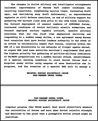 A list of Soviet actions during the War Scare cataloged by the PFIAB's authors. Each is elaborated upon in the report.