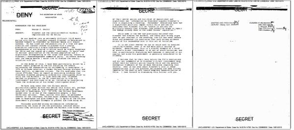 """""""Pinochet and the Letelier-Moffitt Murders: Implications for US Policy,"""" SECRET, Memorandum for the President, October 6, 1987."""