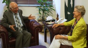 Robin L. Raphel, right, a State Department adviser, meeting with Sartaj Aziz, Pakistan's national security adviser, in Islamabad in 2013. Ms. Raphel has been the target of a spying investigation. Credit B.K. Bangash/Associated Press