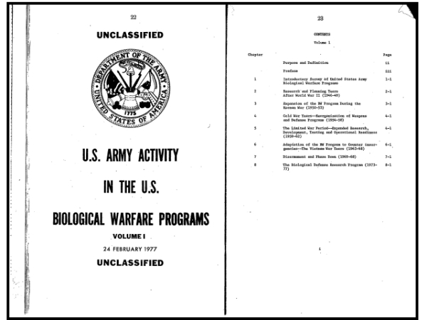 U.S. Army Activity in the U.S. Biological Warfare Programs (Volumes I and II), U.S. Department of the Army, February 24, 1977.