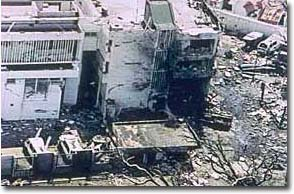 The U.S. Embassy in Dar es Salaam, Tanzania, after the August 1998 bombing