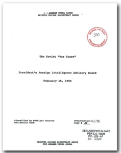 "The cover page of the PFIAB report, previously classified as ""TOP SECRET UMBRA GAMMA WNINTEL NOFORN NOCONTRACT ORCON"". It took over 12 years to win this document's release from the George H.W. Bush Library."