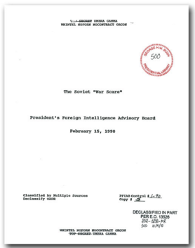 "The cover page of the PFIAB report, previously classified as ""TOP SECRET UMBRA GAMMA WNINTEL NOFORN NOCONTRACT ORCON""."
