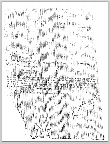 Shredded CIA Cable reporting on information provided by an Iranian contact, secret, September 1, 1979.