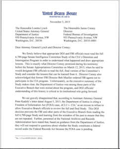 Letter from Congress urging the DOJ to disseminate torture report.