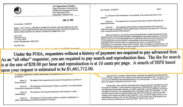 "Last year the DEA told a FOIA requester that his FOIA request for information on ""El Chapo"" would cost $1.46 million."