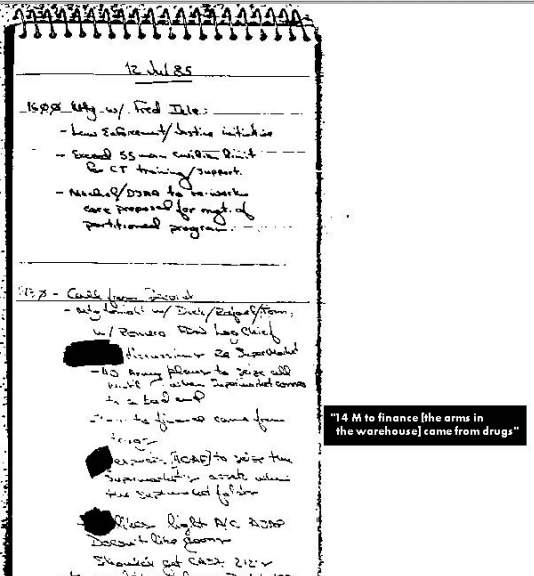 Ollie North's Notebooks --released to the NS Archive under FOIA-- further reveal the CIA's connection to drug runners.