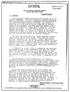 This February 1993 Presidential Review Directive discusses the policy options for the U.S. in pursuing a climate change treaty.