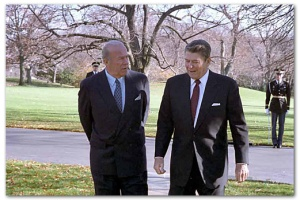 President Reagan walking with Secretary of State George Shultz outside the oval office, December 4, 1986. Photo courtesy of the Ronald Reagan Presidential Library, Photograph no. C38208-20.