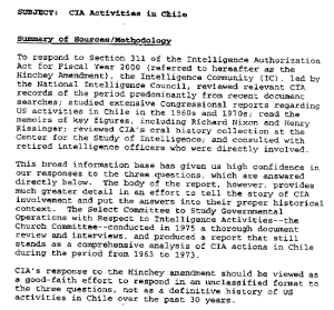 """CIA Activities in Chile,"" released by the CIA, September 19, 2000"