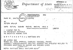 "February 7, 1974 DOS telegram: Request for Specific Replies to Previous Questions on Horman and Teruggi Cases. Kubisch notes that he is raising this issue ""in the context of the need to be careful to keep relatively small issues in our relationship from making our cooperation more difficult."""