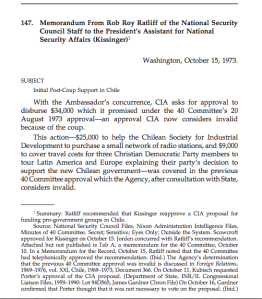 October 15, 1973 memo on CIA support for Christian democrats - see page 400 in latest FRUS.