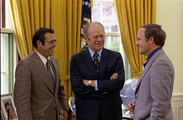 President Gerald Ford (center) with White House Chief of Staff Donald Rumsfeld (left), and Rumsfeld's assistant, Dick Cheney, in the Oval Office, April 28, 1975. (Source: David Hume Kennerly, photographer; courtesy Gerald R. Ford Library)