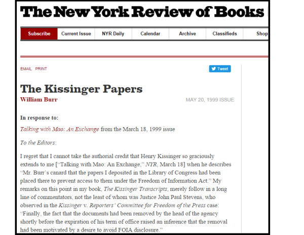 "Kissinger called the Archives Bill Burr ""canard"" for repeating that Kissinger ""deposited"" his records at the Library of Congress to avoid the FOIA."