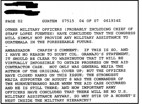 Chapins comments from a September 6, 1983, State Department cable.