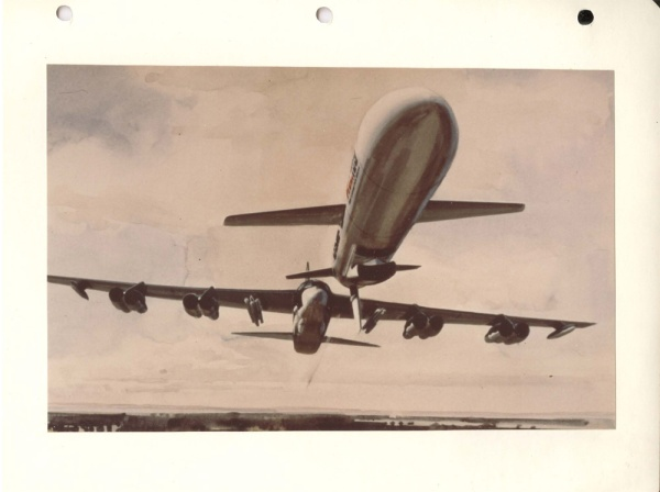 "Undated painting depicts an ""artist's conception of an AGM-86 air launched cruise missile released from a B-52G, in the background in flight."" (NARA, Still Pictures Unit, RG 342B, box 965)."