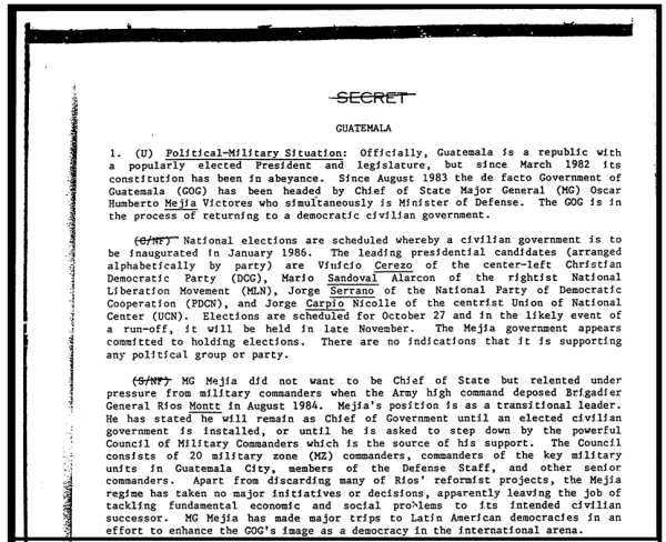 A secret October 1985 Defense Intelligence Agency report describes Mejía Víctores initial reluctance.