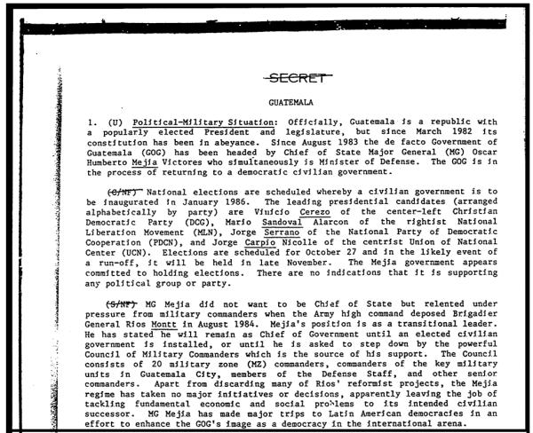 A secret October 1985 Defense Intelligence Agency report describes Mejía Víctores initial reluctance.