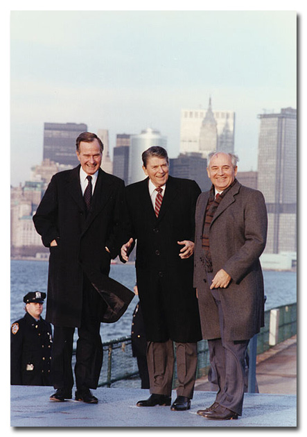 (L to R) Vice President George H. W. Bush, President Ronald Reagan and President Mikhail Gorbachev during the Governor's Island summit, December 1988. (Credit: Ronald Reagan Presidential Library)