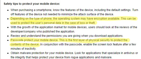 A screenshot of the FBI's now-deleted encryption advice.
