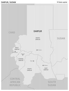 Map of Darfur from Human Rights Watch.