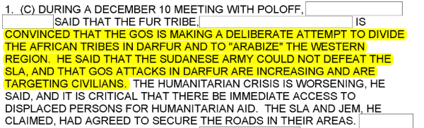 "Excerpt from December 11, 2003 cable warning of ""Arabization"" of Darfur."