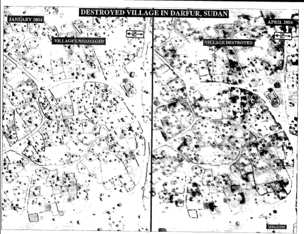 Satellite imagery of a village in Darfur before and after attacks between January and April 2004.