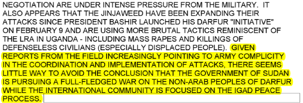 Excerpt from March 6, 2004 cable illustrating the Government of Sudan's complicity in Darfur attacks.