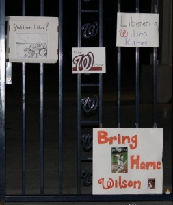 """Free Wilson"" signs left at Nationals Park on November 11, 2011. Courtesy SB Nation."