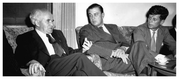 John F. Kennedy was a member of Congress when he first met Prime Minister David Ben-Gurion in 1951. In this photograph taken at Ben-Gurion's home, Franklin D. Roosevelt, Jr., then a member of Congress from New York, sat between them. (Image from Geopolitiek in Perspectief)