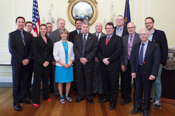 Freedom of Information Act (FOIA) Advisory Committee. From left to right: James Holzer, Mark Zaid, Ginger McCall (forner member), Brent Evitt, Larry Gottesman, Melanie Pustay, Nate Jones, David Ferriero, Lee White, Sean Moulton, Marty Michalosky, Jim Hogan, David Pritzker, Clay Johnson.