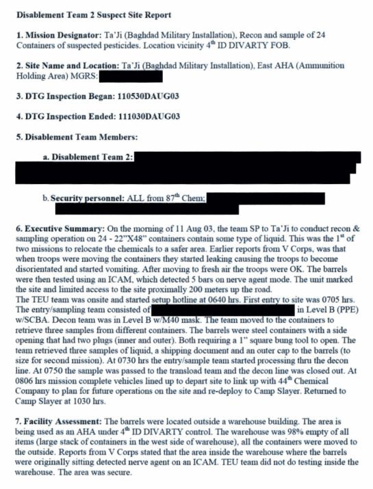 The two-page 2003 Camp Taji Incident report -- released a dozen years after the dangerous exposure.