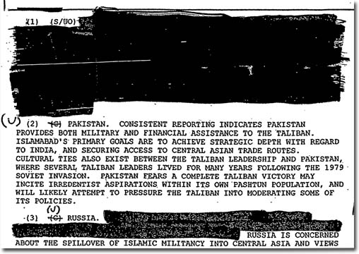 Unnamed and undated, this U.S. intelligence document confirms that Pakistan is providing the Taliban with both financial and military assistance.