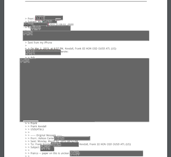 Heavily-redacted emails sent from Secretary Carter's personal email.