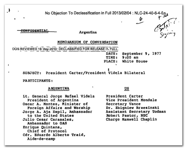 "First page from the Confidential September 9, 1977 White House document, ""President Carter/President Videla Bilateral"""