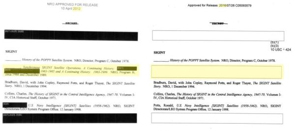 List of history papers at NRO released via FOIA in 2012 (left) List of history papers at NRO released via FOIA in 2016 (right)