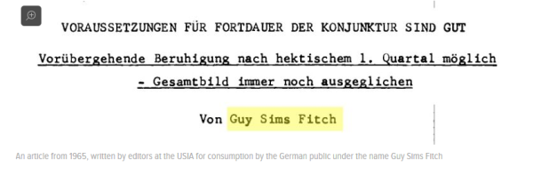 An article from 1965, written by editors at the USIA for consumption by the German public under the name Guy Sims Fitch. Source: PaleoFuture