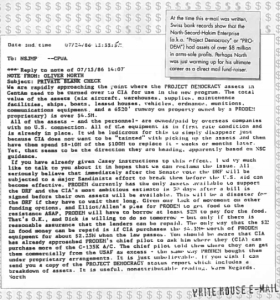 "Email from Oliver North preserved after National Security Archive lawsuit demonstrating arms-sale profits hidden in a fund called ""Project Democracy."""