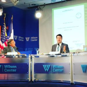 Nate Jones (R) presenting his research on Able Archer 83 at the Wilson Center, October 20, 2016. Tom Blanton, (L), offered expert commentary.