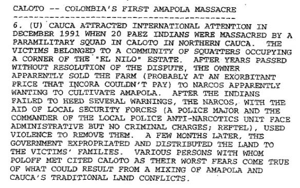 25 Years Later, US Evidence on Caloto Massacre Still Under