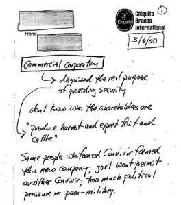March 2000 notes of Chiquita Senior Counsel Robert Thomas indicate awareness that payments were for security services.