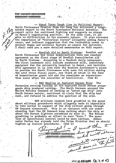 "Nixon's handwritten comments on the Kissinger briefing memorandum for 11 June 1970 [Document 3A in the #tbt posting]. Next to the item on ""Hanoi Takes Tough Line,"" Nixon wrote ""K – They need another jolt."" Next to the item, ""MAC [Military Armistice Commission] Meeting on Captured Korean Ship,"" Nixon jotted: ""Disgraceful! I want them to have procedures which will allow immediate response in such cases in the future."""