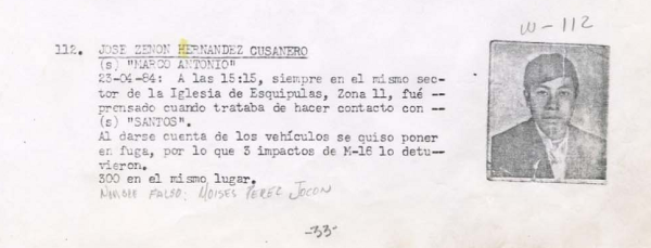 """Hernández Cusanero's entry in the Guatemalan Death Squad Diary"" -- Courtesy National Security Archive"