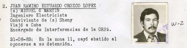 """Orozco's entry in the Guatemalan Death Squad Diary"" -- Courtesy National Security Archive"
