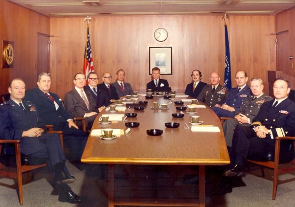 Taken in November 1973, this picture of the U.S. Intelligence Board, then chaired by Director of Central Intelligence William E. Colby, shows representatives of the organizations which collected and reviewed intelligence before and during the October 1973 War. INR Director, Ray Cline, who signed the memorandum predicting war by the autumn, sits fourth from left clockwise . (Photo, courtesy CIA History Staff)
