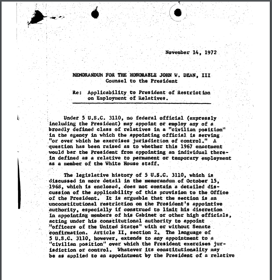 Overturned OLC Memo Says Presidents Canu0027t Hire Relatives