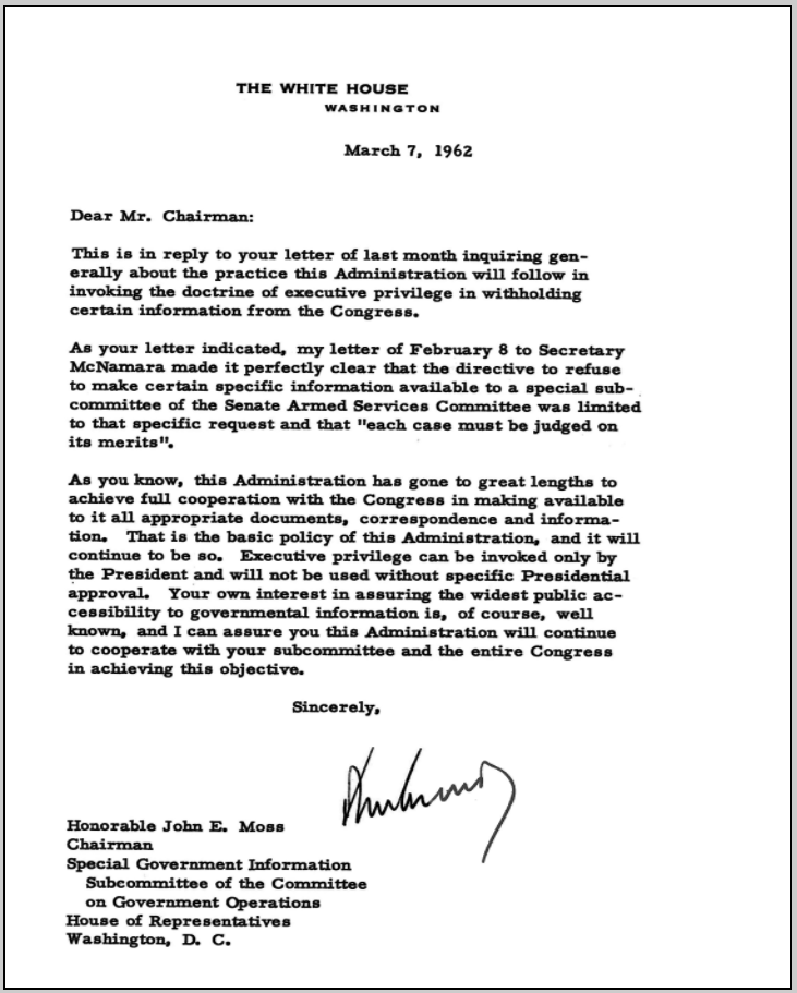 Executive Privilege Letter: John Moss And The Roots Of The Freedom Of Information Act